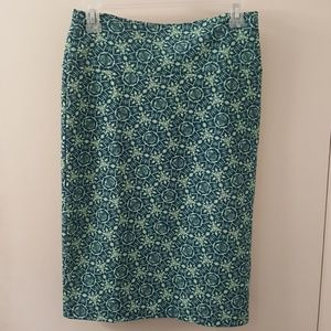 LuLaRoe Cassie Skirt Teal with Lime Green Small